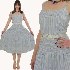 Vintage 80s Blue Sun Dress Hippie Boho by SHABBYBABEVINTAGE, $65.00