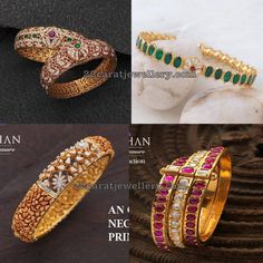 Antique finish diamonds studded broad designer kada designs with colorful gemstones from Navrathan Jewellers, Bangalore. Ruby Bangles, Bangle Bracelets, Silver Bracelets, Gold Necklace, Gold Bangles Design, Jewelry Design, Designer Bangles, Sterling Silver Jewelry, Antique Jewelry