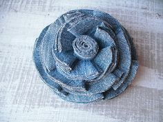 Repurposed Denim Flower Brooch by WildPinkRosesWear on Etsy, $12.00