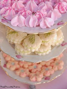 TEA PARTY RECIPES for 1) Mini Meringues with a Chocolate Surprise, 2) No Bake Pink Lemonade Mini Cakes, 3) Pink Piccadilly Shortbread, and, 4) Lemon Cucumber Tea Sandwiches / Pink Piccadilly Pastries