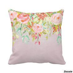 Pink Floral Garden Watercolor pillow