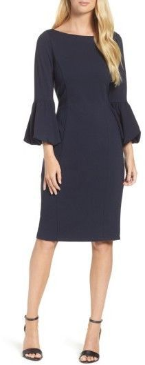 Ruffled statement sleeves put an on-trend finish on this otherwise classically styled sheath dress cut from a smooth, stretchy knit. Style Name:Eliza J Ruffle Sleeve Sheath Dress. Ruffle Dress, Ruffle Sleeve, Dress Cuts, Nordstrom Dresses, Day Dresses, Midi Dresses, Fashion Looks, Fashion Edgy, Fashion Fall