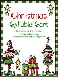 This is a fantastic activity to help students practice counting syllables. There are 30 Christmas words for them to sort into 1, 2, 3, or 4 syllables. A student response form and answer key are both included.There are 2 choices for the word cards. One with a white background (saves ink) and one with a colored background.The pages can either be created as a file folder activity or stored in an envelope.