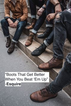 Thursday Boots are built for work & play. With the durability of work boots and sophistication of fashion boots, you'll be ready wherever the day takes you. Mens Rugged Boots, Mens Biker Boots, Motorcycle Boots, Stylish Mens Outfits, Casual Outfits, Men Casual, Fashion Outfits, Rugged Look, Rugged Mens Style