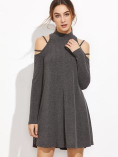 SheIn offers Grey Ribbed Knit Strappy Cold Shoulder Dress & more to fit your fashionable needs. Japanese Fashion, Asian Fashion, Hijab Fashion, Fashion Dresses, Colorful Fashion, Trendy Fashion, Girl Fashion, New Designer Dresses, Hijab Style