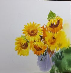 2017수업시연중에~~ : 네이버 블로그 Kim Sun, Sunflower Art, Watercolor Paintings, Drawings, Plants, Sunflowers, Google, Wine Cellars, Art