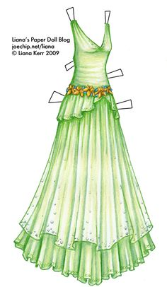 A sleeveless light green gown with a deep V neckline, made of light, filmy fabric. The bodice has a slightly dropped waistline and a gathered peplum decorated with a subtle scroll pattern. The neckline is decorated with small silver beads, and there is a belt of gold lilies and small blue forget-me-nots around the dropped waist. There is a semi-transparent overskirt of light green, decorated at the hem with silver beads, which goes over a calf-length underskirt of light green, decorated with…