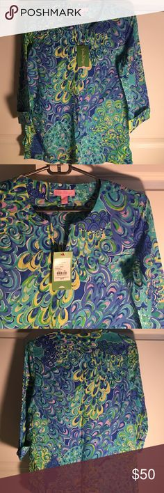 Lilly Pulitzer Amelia Island Tunic Sea Blue Lilly Pulitzer Amelia Island Tunic, size XS, never worn Lilly Pulitzer Tops Tunics