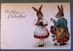 Easter Dressed Rabbits with Eggs Vintage German Postcard-p595 #Easter