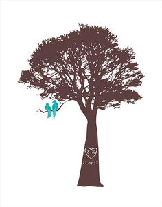 Personalized Wedding Gift Personalized Valentines Paper wedding anniversary gift engagement or bridal gift Love birds in a tree Wedding Gift on Etsy, $26.00