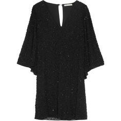 Alice + Olivia Shary embellished chiffon mini dress (785 CAD) ❤ liked on Polyvore featuring dresses, black, sequin cocktail dresses, sequin dresses, chiffon cocktail dresses, short dresses and sequin shift dress