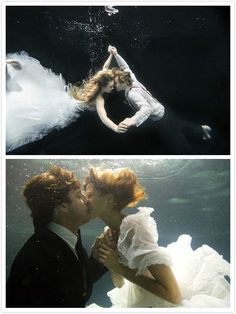 Themed weeding: Suffocation Love - Underwater #Engagement #Photos.