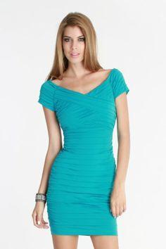 Turqoise Off Shoulder Ruched Dress shop at shopmodamia.com