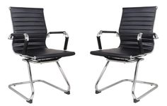 Classic Replica Visitors Chair in Black PU Leather. Chrome arms with Protective arm Sleeves with Zip Available. Suitable for Office and Home Leather Lounge, Pu Leather, Vegan Leather, White Leather, Office Set, Buy Office, Executive Office, Barrel Chair, Modern Rustic Interiors