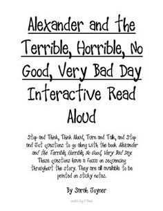 Alexander And The Terrible Horrible No Good Very Bad Day Quotes