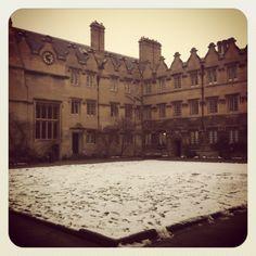 Jesus College Oxford in the snow
