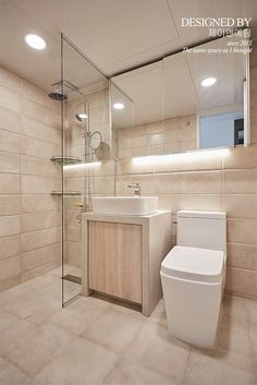 bathroom: 제이앤예림design의 욕실 Contemporary Bathrooms, Beautiful Bathrooms, Bathroom Interior Design, Small Apartments, Home Deco, Master Bathroom, Bathroom Lighting, House Design, Bath Room