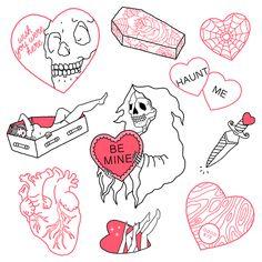 Creepy Valentine Art Print by Rebecca Richards - X-Small Flash Art Tattoos, Body Art Tattoos, Kritzelei Tattoo, Doodle Tattoo, Tattoo Sketches, Tattoo Drawings, Doodle Drawings, Mini Tattoos, Small Tattoos