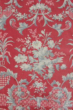 Antique French Rococo design ~ lovely reds and gray ~*~