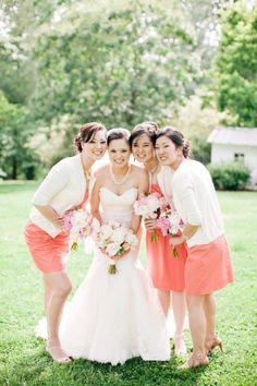 coral bridesmaid dresses | Julie Lim #wedding