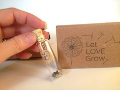 Custom Wedding Favor Seed Kit. Unique Heart seeds in GLASS Vials. Set of 10 with custom stamp.