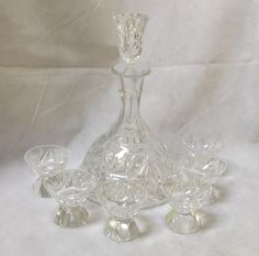 Vintage Cut Crystal Sherry Decanter and Glass Set Sherry Glasses, Crystal Decanter, Cut Glass, Light Up, Crystals, Vintage, Crystal, Vintage Comics, Crystals Minerals