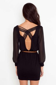Lily Lattice Dress - Black