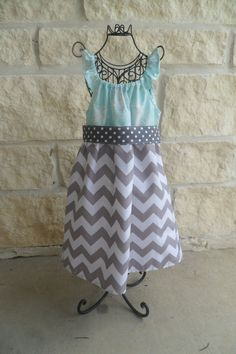 Girls boutique party dress Gray and white by thejadedprincess, $45.00