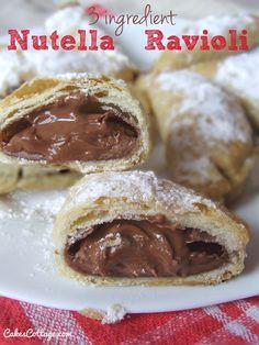 Three Ingredient Nutella Ravioli - 3 main ingredient delicious, crispy, chocolate-y, Nutella ravioli