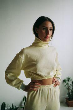 aleur Butter Waffle Sweater - Yellow on Garmentory Cropped Sweater, Big Sweater, Baby Yellow, Loungewear Set, Figure Model, Yellow Sweater, Cozy Sweaters, Fast Fashion, New Outfits