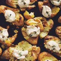 Smashed Potatoes With Roasted Garlic Cashew Butter via @feedfeed on https://thefeedfeed.com/hotforfood/smashed-potatoes-with-roasted-garlic-cashew-butter