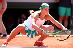 French Open Tennis Tournament - Day Fourteen. Jelena Ostapenko of Latvia in action against Simona Halep of Romania in the Women's Singles Final match on Philippe-Chatrier Court at the 2017 French Open Tennis Tournament at Roland Garros on June 10th, 2017 in Paris, France.