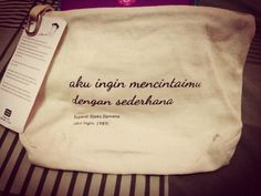 Pouch with the sweetest quotes from Sapardi Djoko Damono