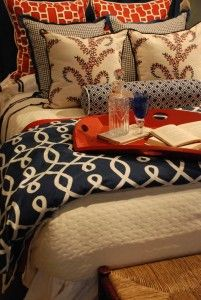 Red, white and blue! #custombedding #spring #nellhills with nellhillsblog.com