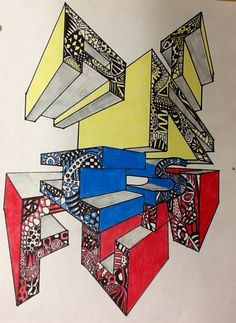 A two point perspective drawing using Zentangle. I created this for a high school art project.