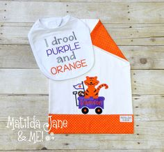 Clemson Tiger Baby Coming Home Outfit,Clemson Newborn Photos,Baby Shower Gift,Clemson Gift,Burp Cloth,and Bib, Clemson Baby Girl Clemson Boy by ThePerfectWallet on Etsy