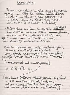 "George Harrison's handwritten lyrics for ""Something"".:"