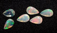 Insane Rainbow Fire Ethiopian Welo Opal Faceted Pear 5 x 8 MM Parcel 6 Pcs AAA #DreamOfDesigners