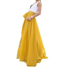 76605d47217 MELANSAY Women s Beatiful Bow Tie Summer Beach Chiffon High Waist Maxi Skirt