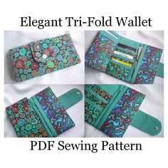 Elegant Tri-Fold Wallet Sewing Pattern - Susie D Designs they are cheapest in the store,unbelievable cheap sale you'll gonna love this site and these bags Wallet Sewing Pattern, Pdf Sewing Patterns, Free Sewing, Tote Pattern, Sewing Hacks, Sewing Tutorials, Sewing Crafts, Sewing Projects, Bag Tutorials