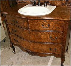 It's very satisfying seeing this piece of antique furniture given a new life as a vanity.