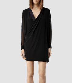 Womens Lucas Shirt Dress (Black/Liquorice) - product_image_alt_text_1
