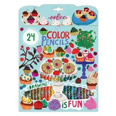 Desserts 24 Color Pencils in a Paper Box | eeBoo