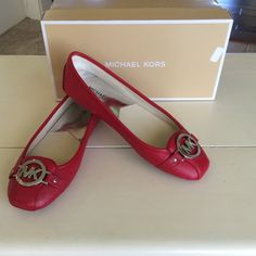 NEW Michael Kors Fulton New never worn, red Michael Kors Fulton. Silver hardware. Comes with original box. Michael Kors Shoes Flats & Loafers
