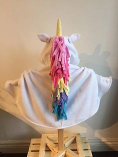Ponchies For Kids - Rainbow Unicorn Mane Fleece Poncho - White This poncho is. Fleece Poncho, Baby Poncho, Kids Poncho, Sewing Kids Clothes, Sewing For Kids, Baby Kind, Baby Love, Car Seat Poncho, Unicorn Hoodie