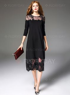 Vestidos Elegante A media pierna Mangas 3 4 Liso Encaje - Floryday Vestidos  De Mujer d8f20d1e21f9