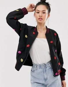 Buy Sass & Bide French kiss sports jacket at ASOS. With free delivery and return options (Ts&Cs apply), online shopping has never been so easy. Get the latest trends with ASOS now. Asos Gift Voucher, French Kiss, Lip Designs, Sports Jacket, Discount Shopping, Latest Trends, Fitness Models, Skinny Jeans