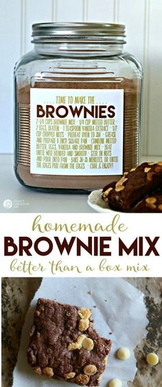 Brownie BETTER THAN BOX Mix Never run out of brownie mix again! Make your own brownie mix for making brownies anytime. Use 2 cups for the perfect recipe! Free printable label, which makes it easy for homemade gift ideas See the recipe on TodaysCre Homemade Dry Mixes, Homemade Brownie Mix, Homemade Brownies, Homemade Seasonings, Homemade Spices, Brownie Jar, Homemade Gifts, Homemade Sweets, Vegan Brownie