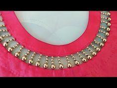 Very creative beaded design /latest boat neck design for kurti - YouTube