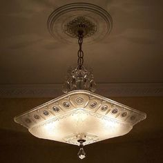 863 Vintage 40's Emipre Ceiling Light Lamp Fixture Glass Chandelier antique #MadeinUSA